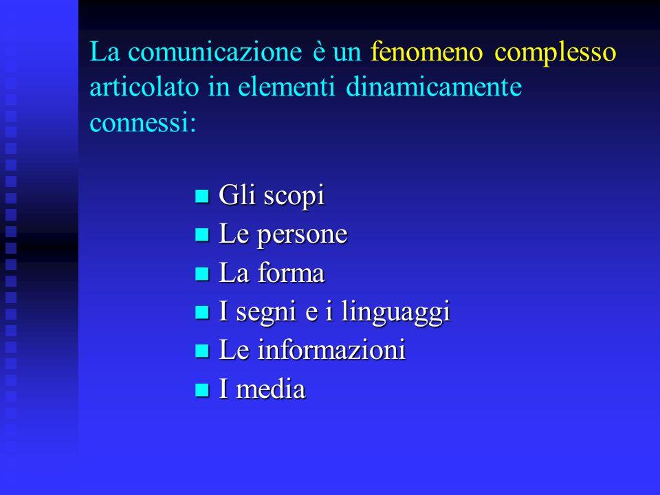 La comunicazione è un fenomeno complesso articolato in elementi dinamicamente connessi: