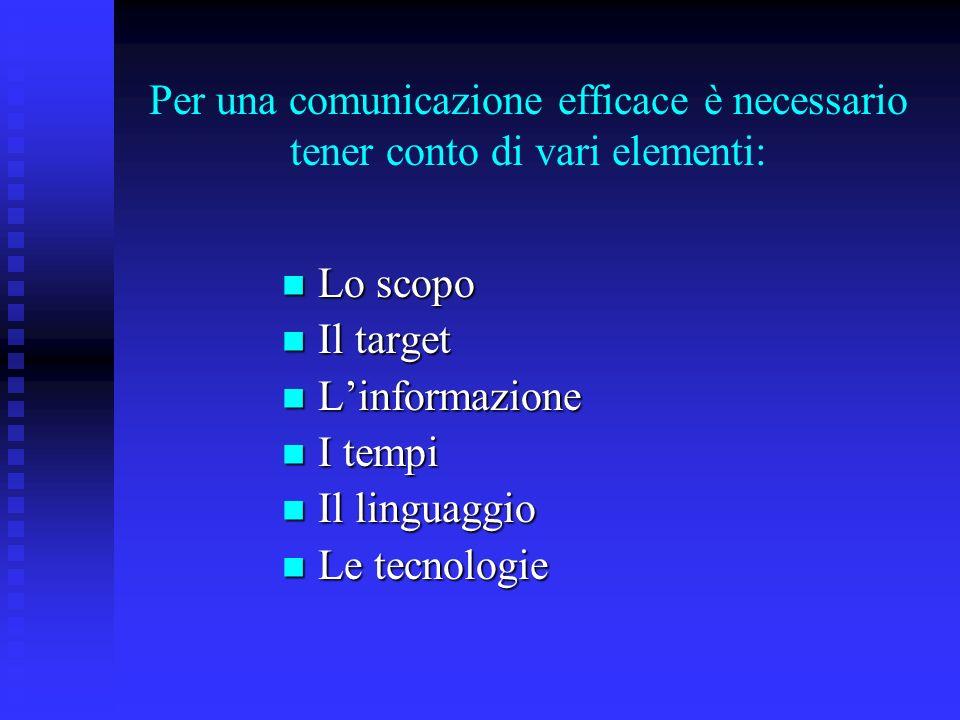Per una comunicazione efficace è necessario tener conto di vari elementi: