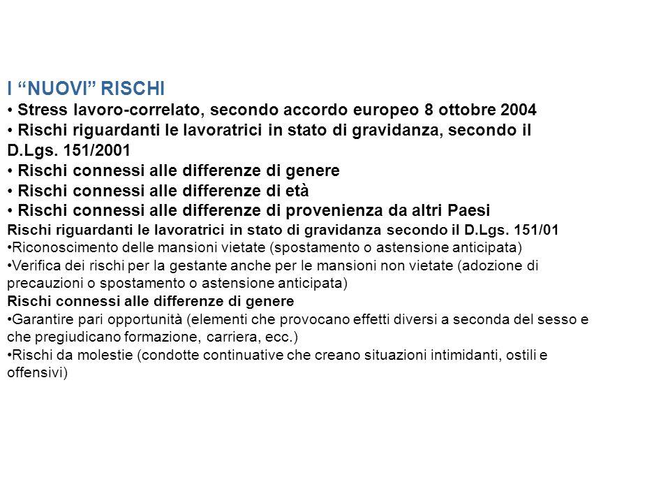 I NUOVI RISCHI • Stress lavoro-correlato, secondo accordo europeo 8 ottobre 2004.