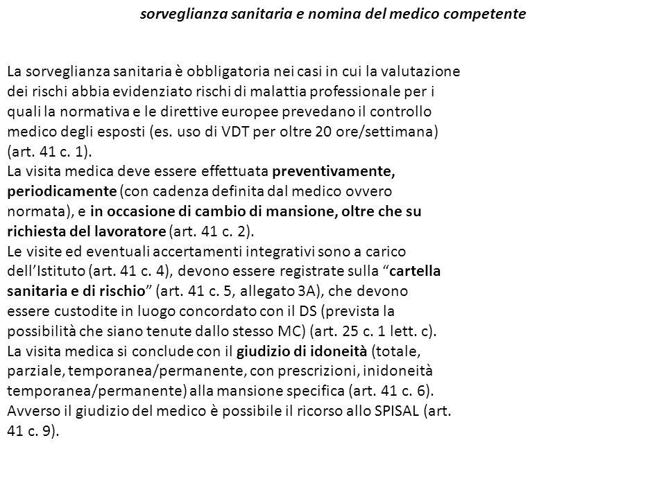 sorveglianza sanitaria e nomina del medico competente