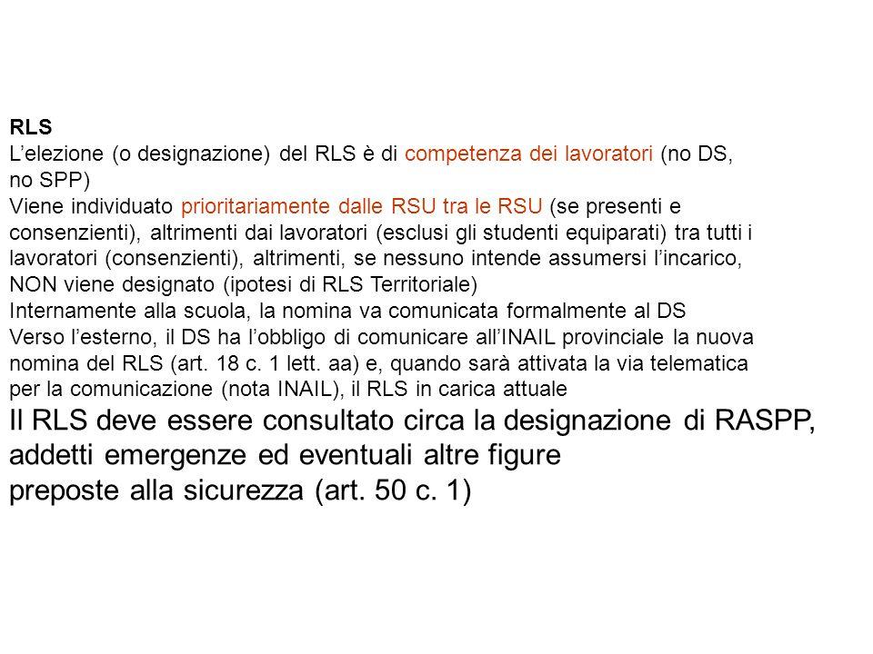 Il RLS deve essere consultato circa la designazione di RASPP,