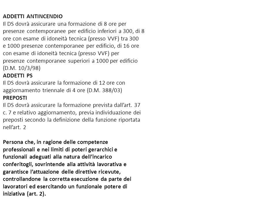 ADDETTI ANTINCENDIO Il DS dovrà assicurare una formazione di 8 ore per. presenze contemporanee per edificio inferiori a 300, di 8.