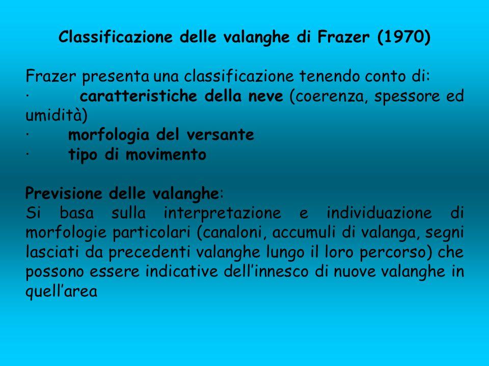 Classificazione delle valanghe di Frazer (1970)