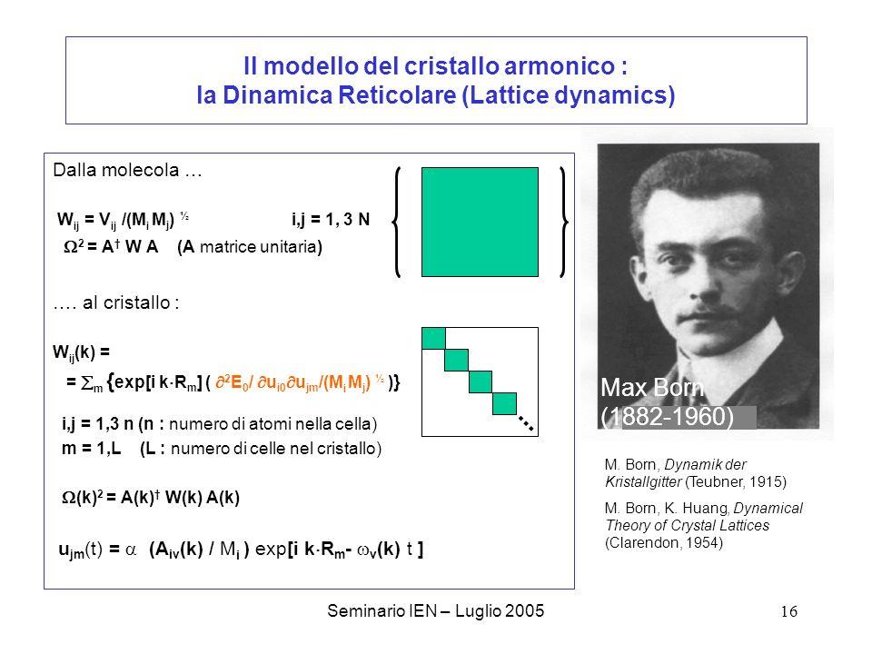 Il modello del cristallo armonico : la Dinamica Reticolare (Lattice dynamics)