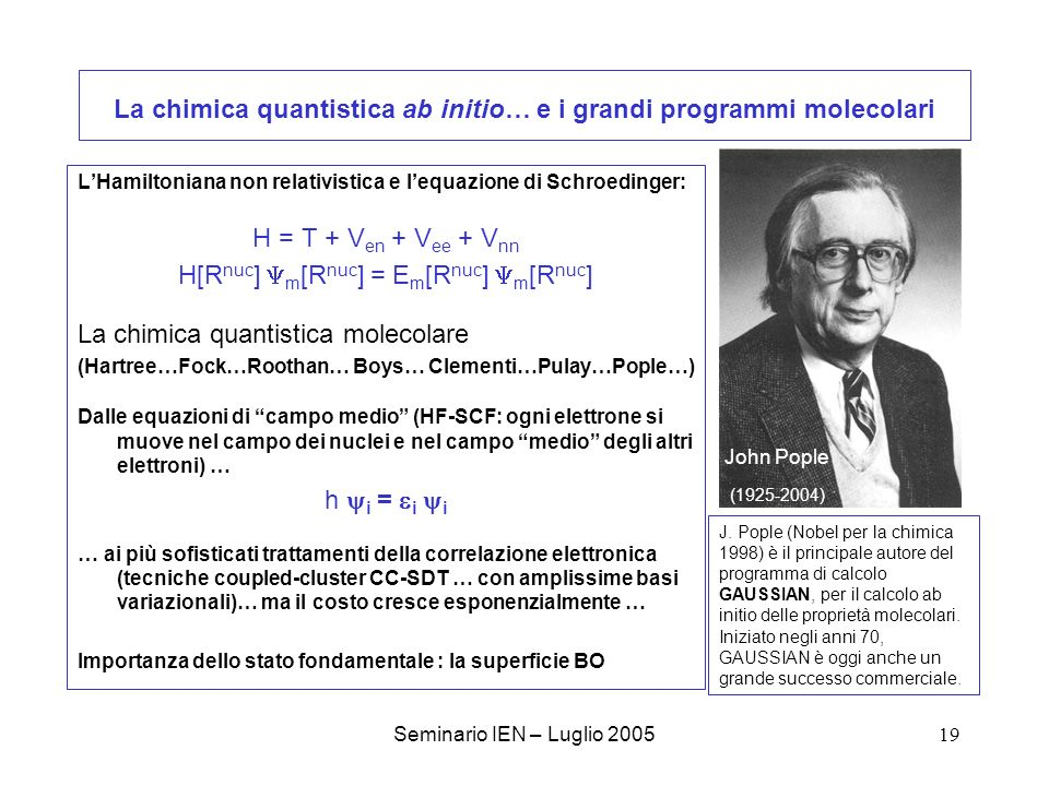 La chimica quantistica ab initio… e i grandi programmi molecolari
