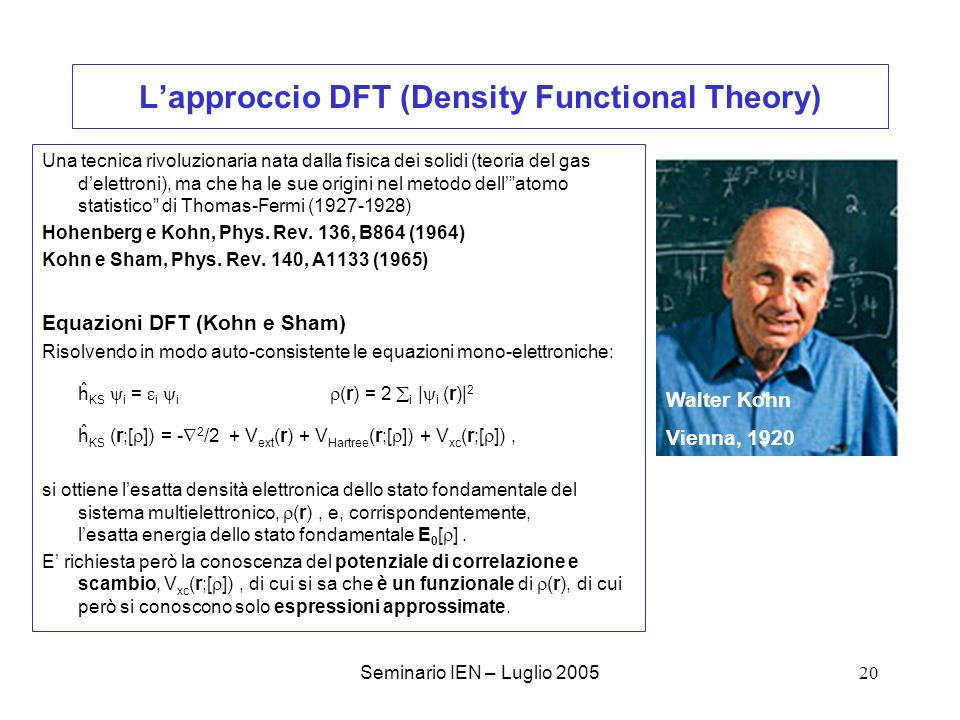 L'approccio DFT (Density Functional Theory)