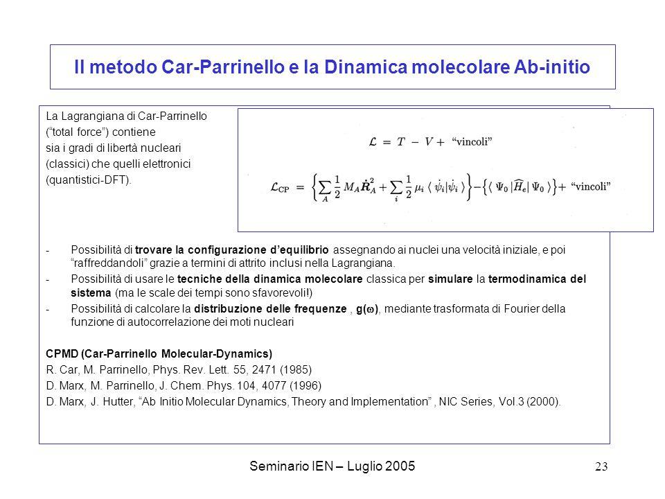 Il metodo Car-Parrinello e la Dinamica molecolare Ab-initio