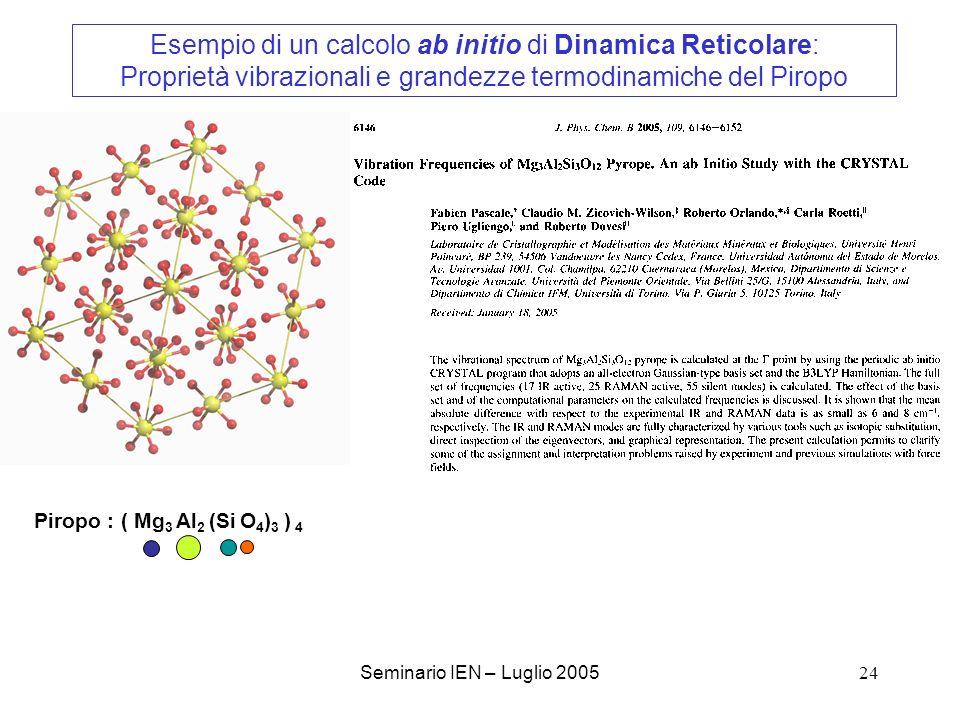 Esempio di un calcolo ab initio di Dinamica Reticolare: Proprietà vibrazionali e grandezze termodinamiche del Piropo