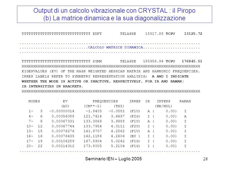 Output di un calcolo vibrazionale con CRYSTAL : il Piropo (b) La matrice dinamica e la sua diagonalizzazione