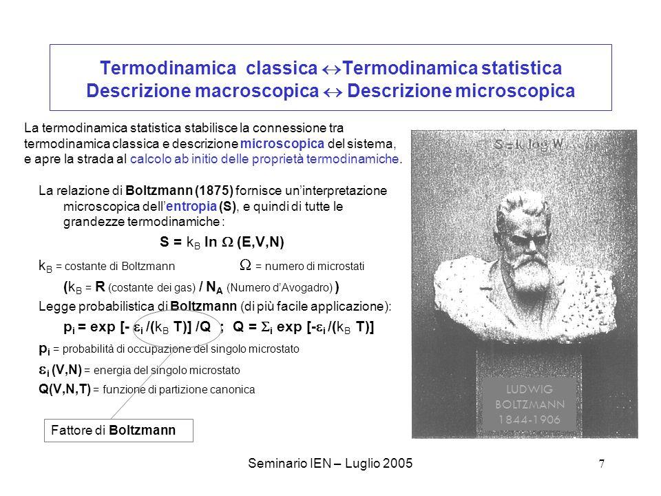 Termodinamica classica Termodinamica statistica Descrizione macroscopica  Descrizione microscopica