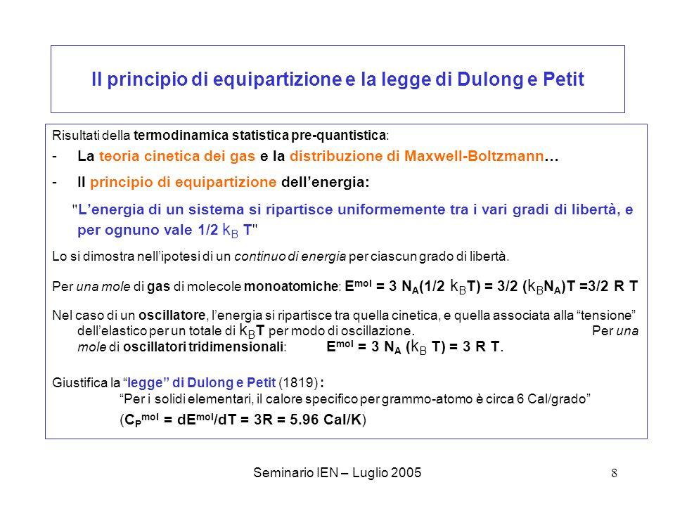 Il principio di equipartizione e la legge di Dulong e Petit