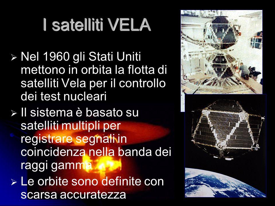 I satelliti VELA Nel 1960 gli Stati Uniti mettono in orbita la flotta di satelliti Vela per il controllo dei test nucleari.
