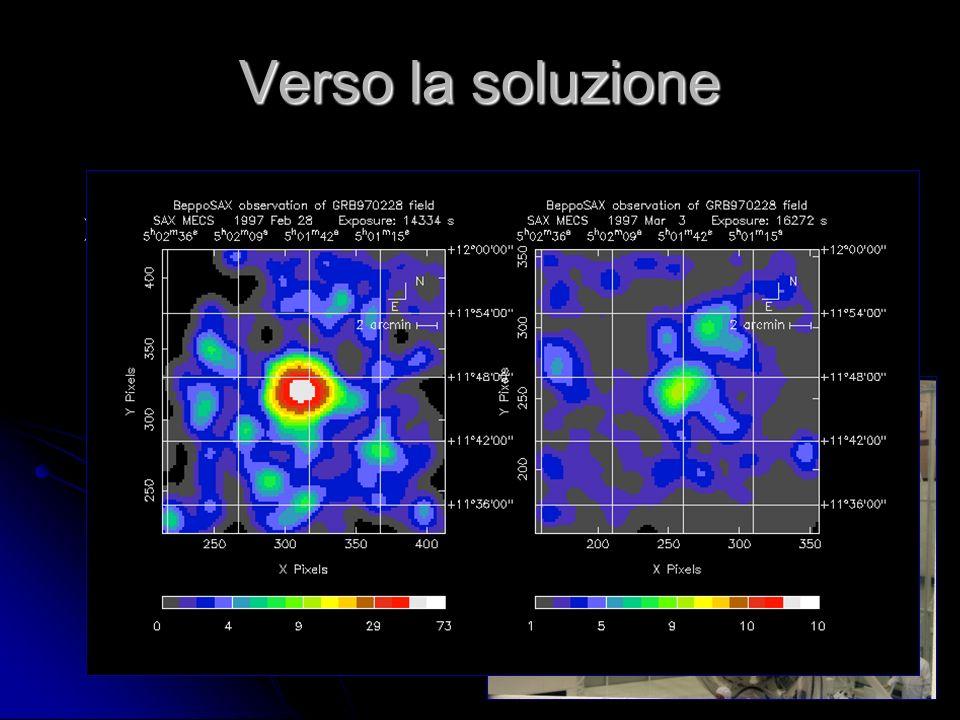 Verso la soluzione Nel 1997 il satellite scientifico italiano BeppoSAX rivela emissione di raggi X da una zona del cielo 8 ore dopo un lampo gamma.