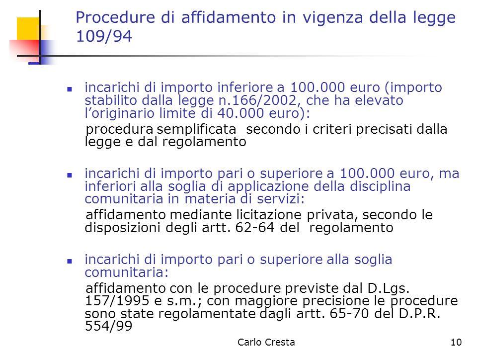 Procedure di affidamento in vigenza della legge 109/94