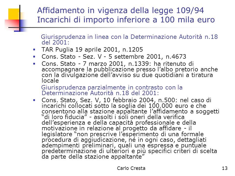 Affidamento in vigenza della legge 109/94 Incarichi di importo inferiore a 100 mila euro