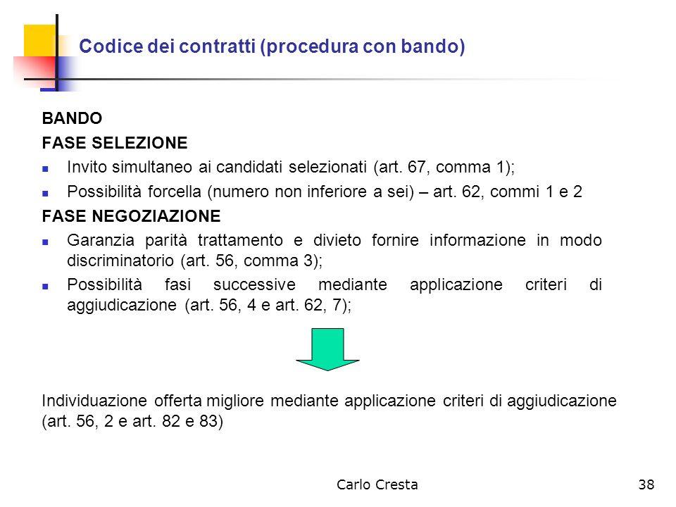 Codice dei contratti (procedura con bando)