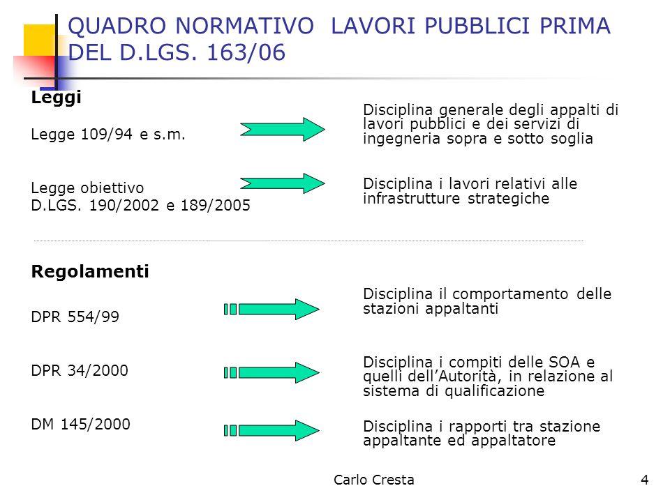 QUADRO NORMATIVO LAVORI PUBBLICI PRIMA DEL D.LGS. 163/06