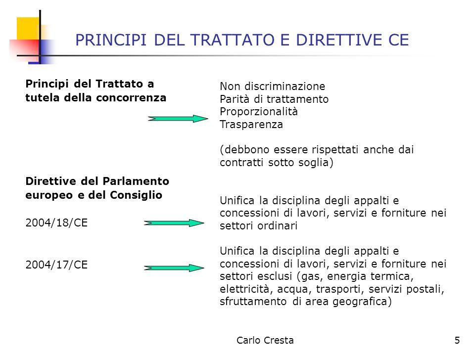 PRINCIPI DEL TRATTATO E DIRETTIVE CE
