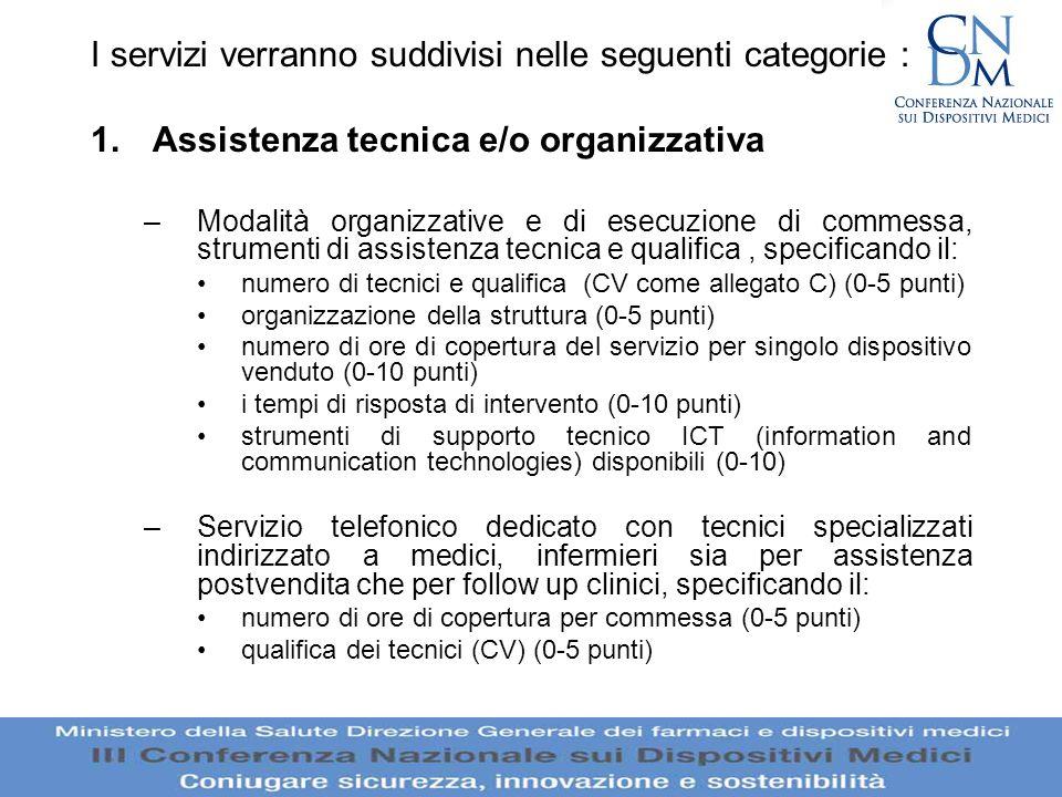 I servizi verranno suddivisi nelle seguenti categorie :