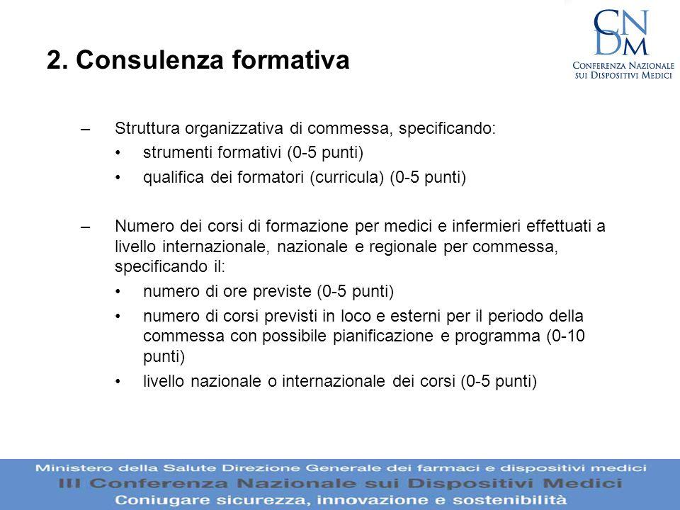 2. Consulenza formativaStruttura organizzativa di commessa, specificando: strumenti formativi (0-5 punti)