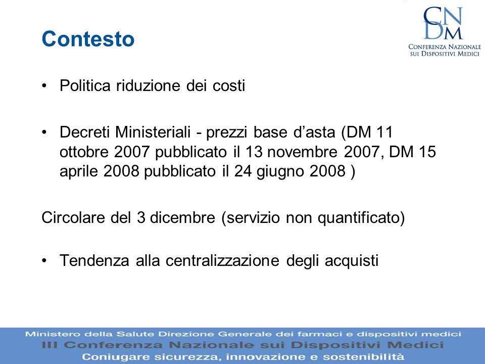 Contesto Politica riduzione dei costi