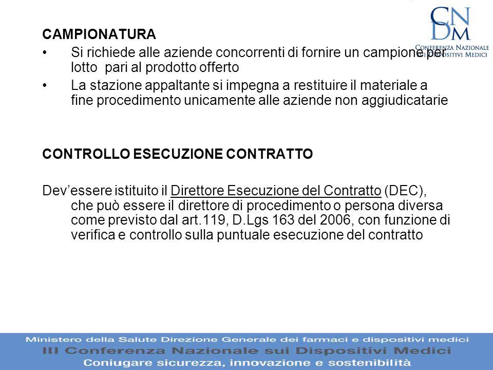 CONTROLLO ESECUZIONE CONTRATTO
