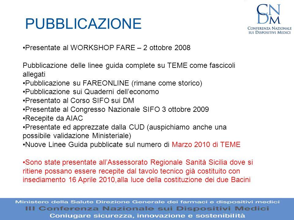 PUBBLICAZIONE Presentate al WORKSHOP FARE – 2 ottobre 2008