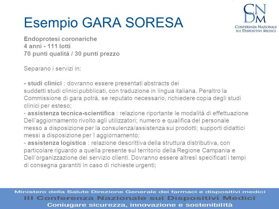 Esempio GARA SORESA Endoprotesi coronariche 4 anni - 111 lotti