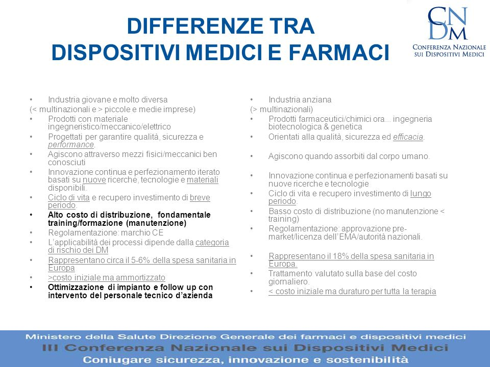 DIFFERENZE TRA DISPOSITIVI MEDICI E FARMACI