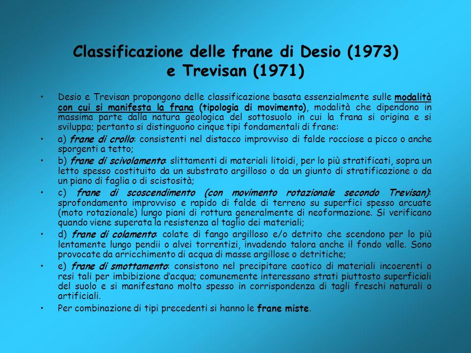 Classificazione delle frane di Desio (1973) e Trevisan (1971)