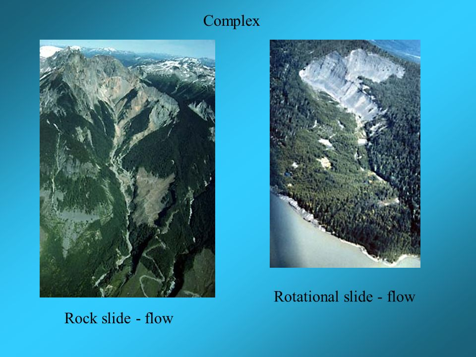 Complex Rotational slide - flow Rock slide - flow