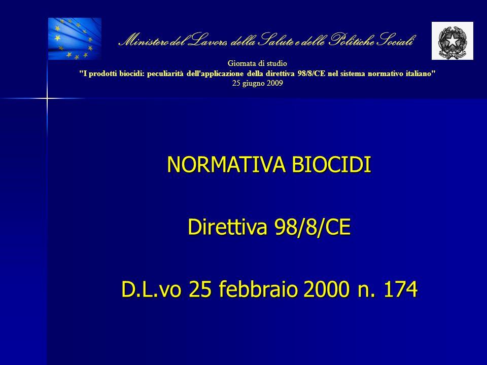 NORMATIVA BIOCIDI Direttiva 98/8/CE D.L.vo 25 febbraio 2000 n. 174