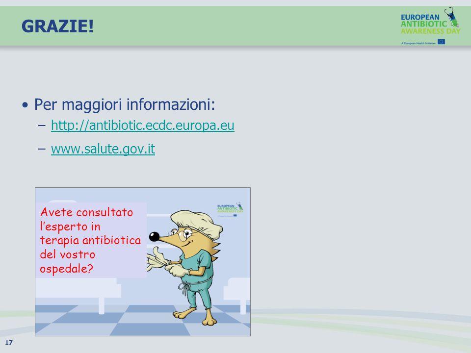 GRAZIE! Per maggiori informazioni: http://antibiotic.ecdc.europa.eu