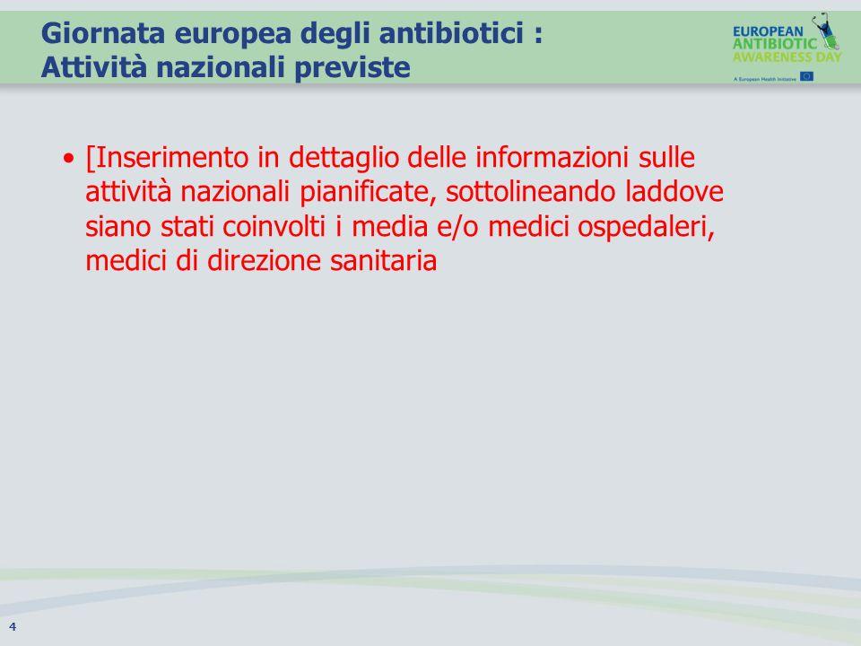 Giornata europea degli antibiotici : Attività nazionali previste