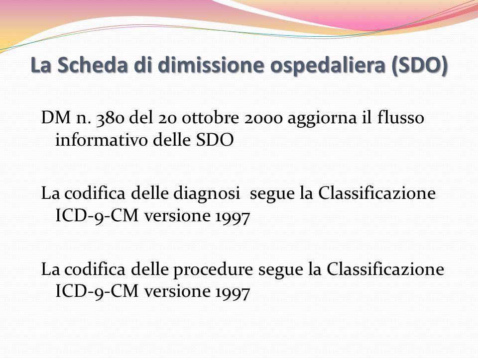 La Scheda di dimissione ospedaliera (SDO)
