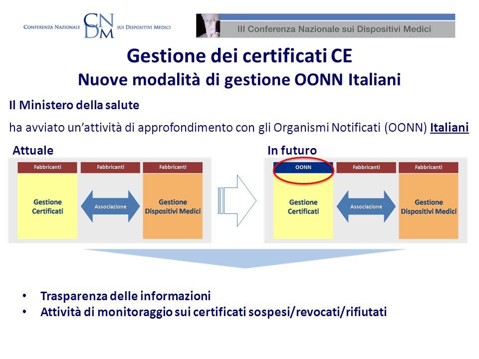 Gestione dei certificati CE Nuove modalità di gestione OONN Italiani