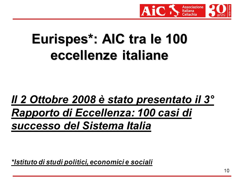 Eurispes*: AIC tra le 100 eccellenze italiane