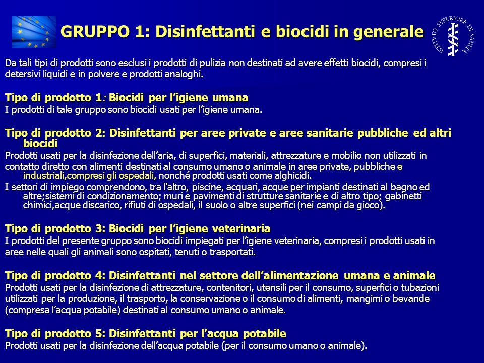 GRUPPO 1: Disinfettanti e biocidi in generale