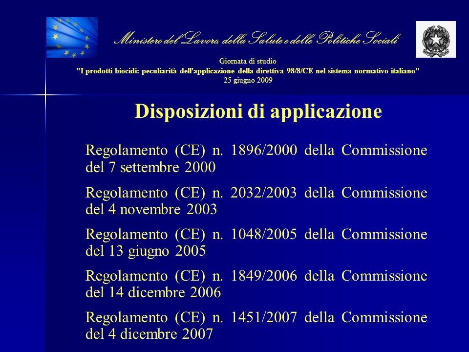 Disposizioni di applicazione