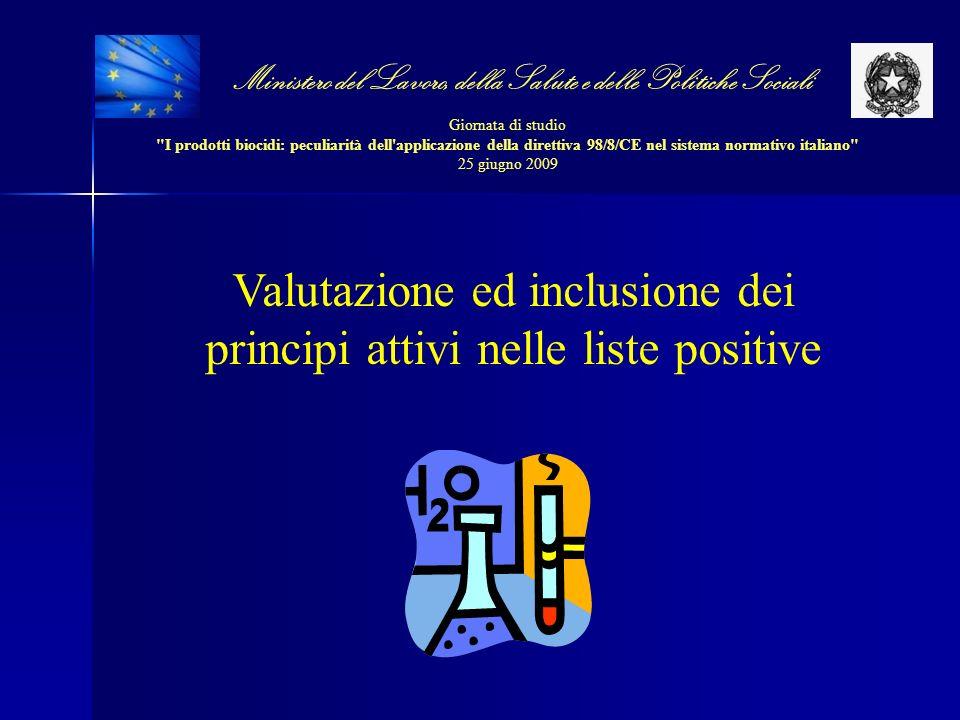 Valutazione ed inclusione dei principi attivi nelle liste positive