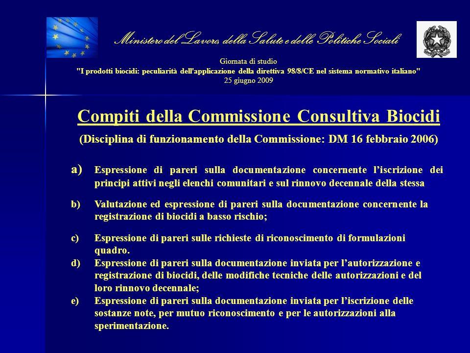Compiti della Commissione Consultiva Biocidi