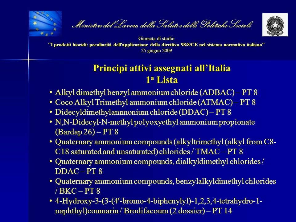 Principi attivi assegnati all'Italia