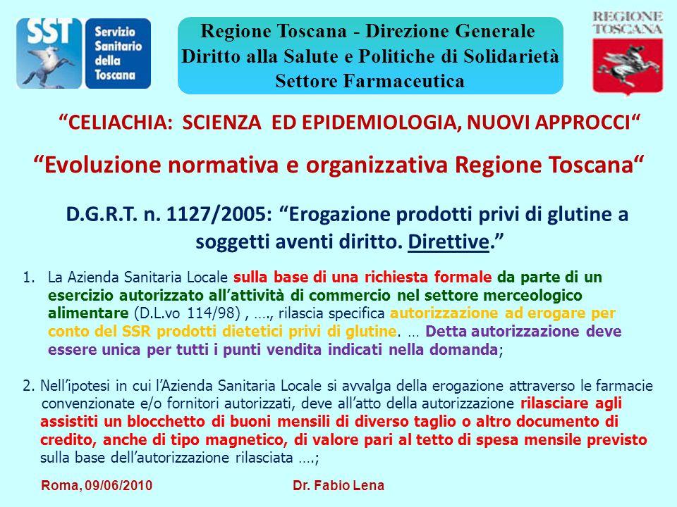 Evoluzione normativa e organizzativa Regione Toscana