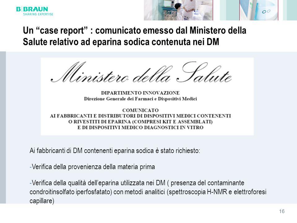 Un case report : comunicato emesso dal Ministero della Salute relativo ad eparina sodica contenuta nei DM