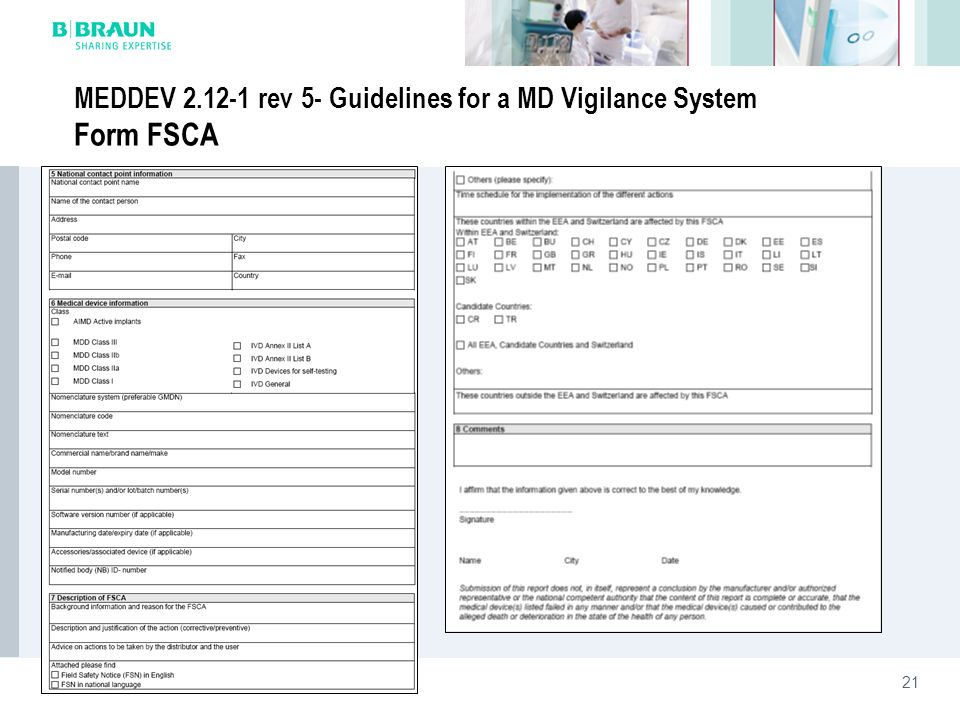 MEDDEV 2.12-1 rev 5- Guidelines for a MD Vigilance System Form FSCA