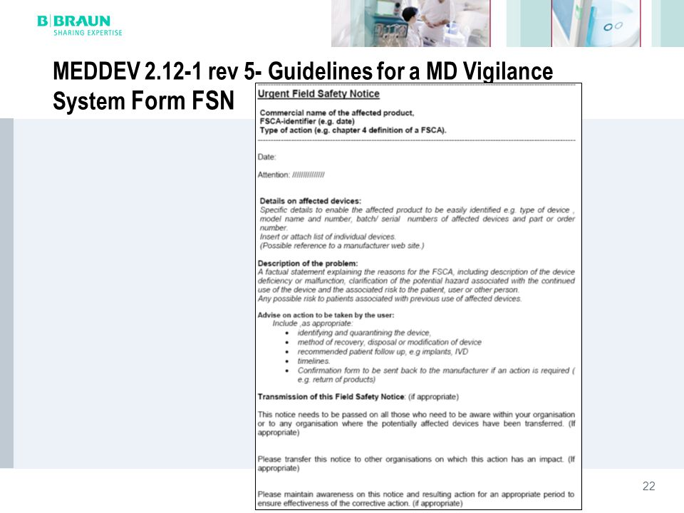 MEDDEV 2.12-1 rev 5- Guidelines for a MD Vigilance System Form FSN