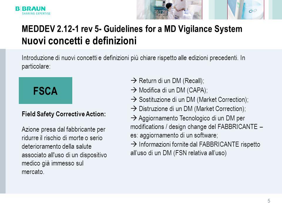 MEDDEV 2.12-1 rev 5- Guidelines for a MD Vigilance System Nuovi concetti e definizioni