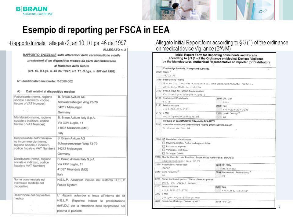 Esempio di reporting per FSCA in EEA