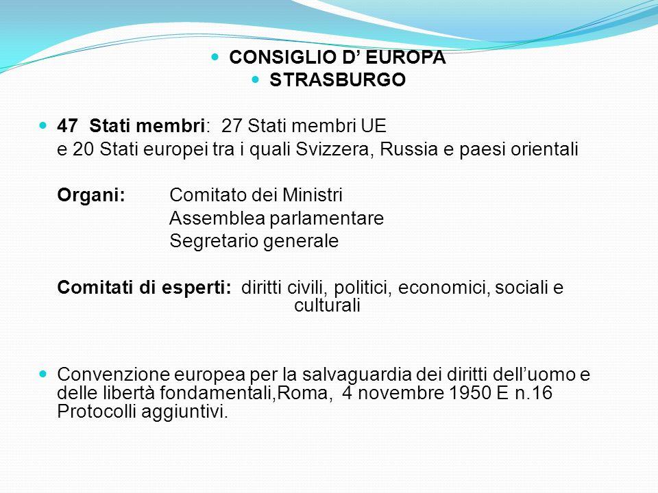 33 CONSIGLIO D' EUROPA STRASBURGO 47 Stati membri: 27 Stati membri UE