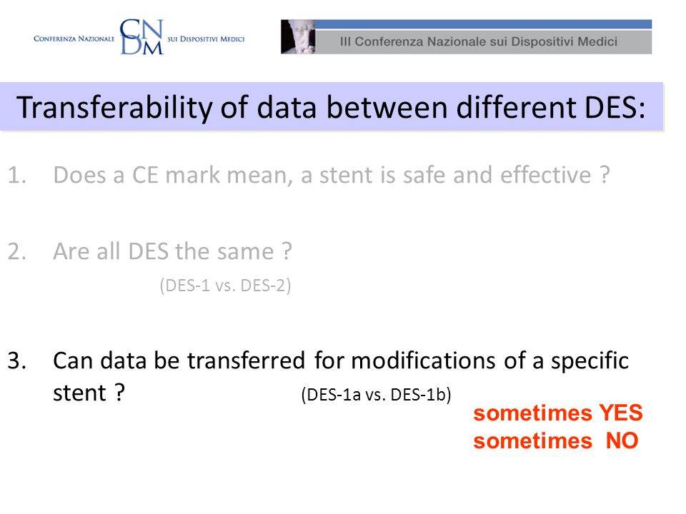 Transferability of data between different DES: